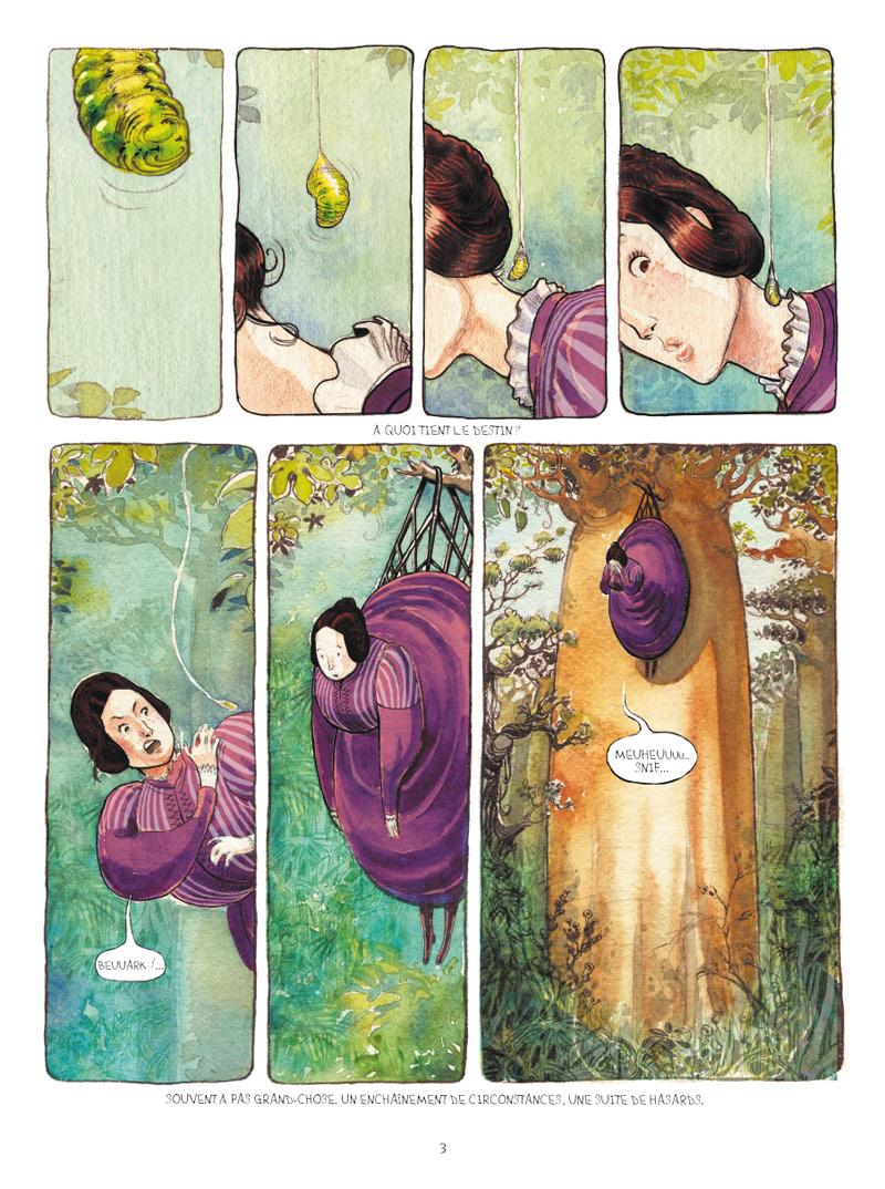 <b>Planche 3</b> : La première planche de l'album est aussi la plus surprenante. Une petite larve verte se glisse dans le corsage d'une gente dame perchée en haut d'un baobab. Ce sont d'abord les couleurs aquarellées qui attirent l'attention. Du vert pastel mélangé au violet soutenu de la robe à crinoline. L'image est des plus amusantes. En même temps, l'héroïne pendue en haut de son arbre, ridicule et abandonnée, pleure à chaudes larmes. Partagé entre le rire et la pitié, l'attendrissement, le lecteur a hâte de tourner la page. Le mélange doux-amer des sentiments est un délicieux aphrodisiaque romanesque.