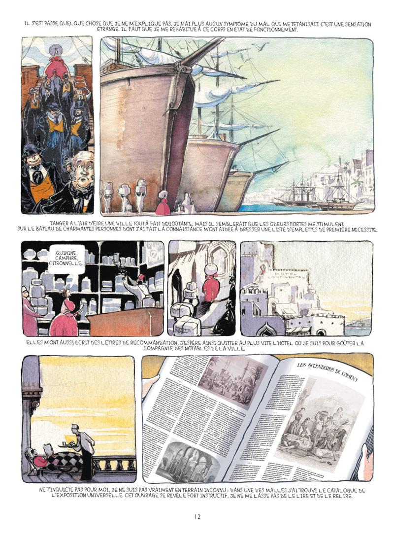 <b>Planche 12</b>. Dans cette page, Chloé Cruchaudet nous invite à ressentir l'appel du large. L'invitation au voyage. Ida débarque à Tanger d'un immense navire. On suit sa petite personne silhouette rouge tout au long de la planche. Ida n'est pas une personne qui passe inaperçue. Pourtant, la construction de la planche fait tout pour la rapetisser. L'effet est tout à fait réussi.
