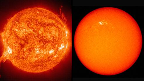 Le Soleil en forte activité, à gauche, en juillet 2002. À droite, une image prise le 11 janvier dernier : seules quelques taches sombres laissent présager un «redémarrage» de notre astre.