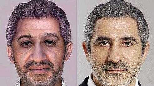 A gauche, le portrait «vieilli» de Ben Laden. A droite, la photo de Gaspar Llamazeres utilisée par un technicien du FBI pour figurer les cheveux et le front du terroriste (Crédit : El Mundo)