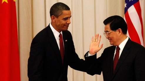 Barack Obama et le président chinois Hu Jintao à Pékin, le 16 novembre 2009.