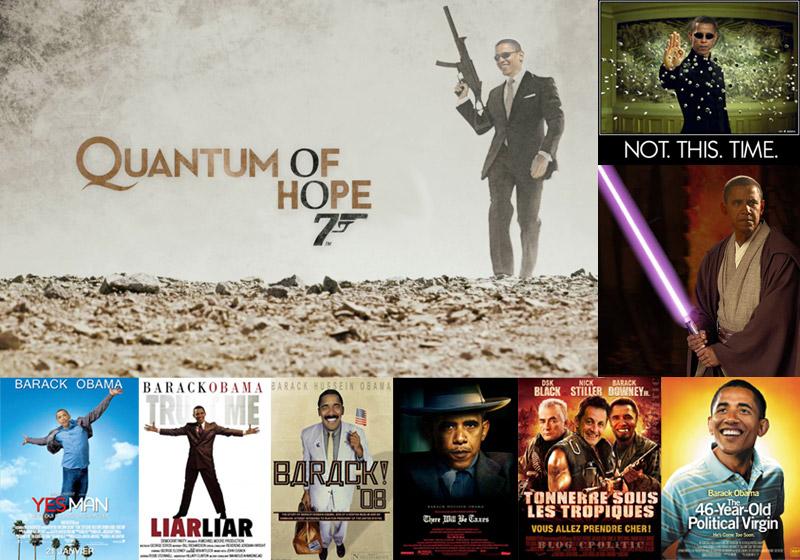 Les représentations de Barack Obama restent toutefois en majorité positives. De James Bond à Borat, en passant par Neo de Matrix et Obi-Wan Kenobi, peu de rôles de héros de cinéma lui auront été épargnés.