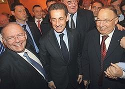 Richard Prasquier, Nicolas Sarkozy, et le recteur de la Mosquée de Paris Dalil Boubakeur.
