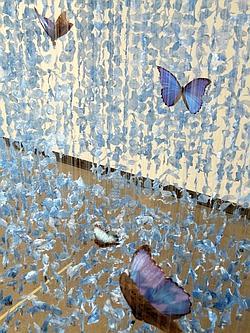 The Blues II (2009) - Papillons morpho bleu, polyéthylène bleu déchiré, plombs, fils de nylon, tiges acryliques. (Claire Morgan)