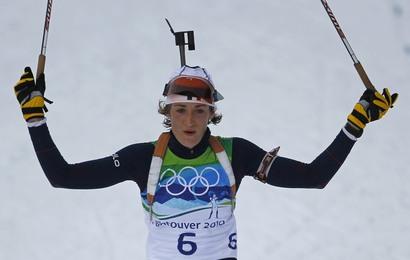 Marie Laure Brunet, médaillée de bronze en poursuite à Vancouver