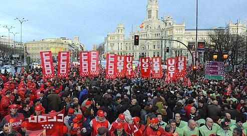 Retraites : manifestation test en Espagne