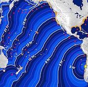Cette carte montre l'évolution d'un possible tsunami dans l'océan Pacifique.