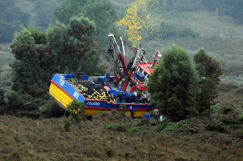 Témoignage de la violence du tsunami qui a ravagé les côtes chiliennes : ce bateau de pêche qui a littéralement volé jusqu'au milieu des terres, loin de son port d'attache. Quarante-huit heures après le tremblement de terre de magnitude 8,8, le dernier bilan officiel fait état de 723 morts et risque de s'alourdir.