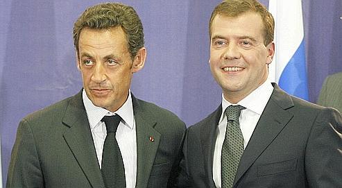 Nicolas Sarkozy et Dmitri Medvedev en septembre 2008, à Moscou.
