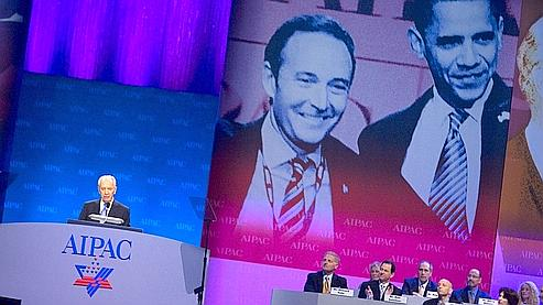 Le président israélien Shimon Peres lors de la réunion anuelle de l'Aipac, en mai 2009. La conférence 2010 aura lieu dans un semaine et réunira Hillary Clinton et Benyamin Netanyahou.