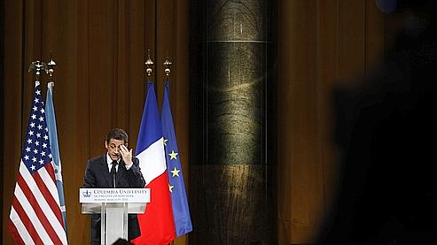 Nicolas Sarkozy, lundi à l'Université de Columbia.