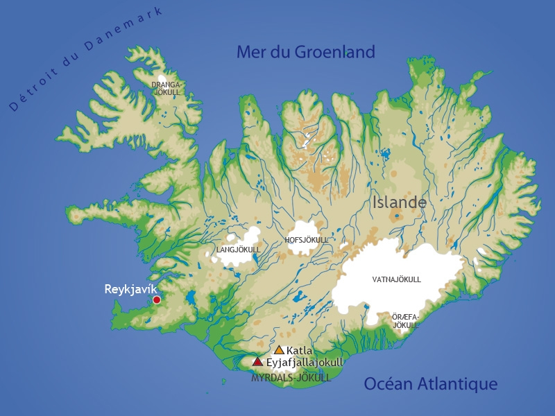Le mois dernier, la première éruption d'Eyjafjallajokull depuis 1823 avait entraîné la brève évacuation de 600 personnes. Ce réveil a placé le volcan voisin de Katla, situé sous le glacier Myrdalsjokull, sous observation. Par le passé, les deux volcans sont souvent entrés en éruption en tandem. L'Islande, qui compte 320.000 habitants, est située sur une zone volcanique au milieu de la faille atlantique.