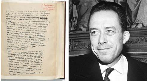 263 404 euros - Le manuscrit autographe du Mythe de Sisyphe d'Albert Camus est passé en vente publique le 11 octobre 2006 chez Sotheby's. (Sotheby's/Rex Features/REX/SIPA)