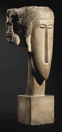 Tête de caryatide, de Modigliani et estimée entre 4 et 6 millions d'euros.