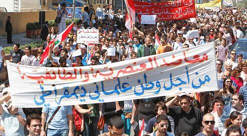 Les participants à la «marche des laïques» ont arpenté, dimanche,  le centre de Beyrouth.