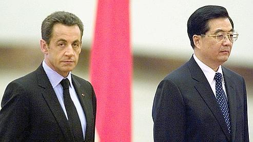 Nicolas Sarkozy rencontre le président Hu Jintao, lors de sa  première visite d'Etat en Chine, en novembre 2007.