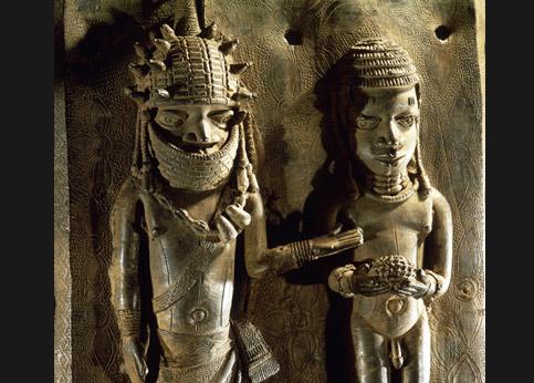 <stro />Têtes de souverains et Reliefs historiés provenant du royaume d'Ifé,</strong> Nigeria, qui les réclame au British Museum.» /><br /> </p><br /> <p=