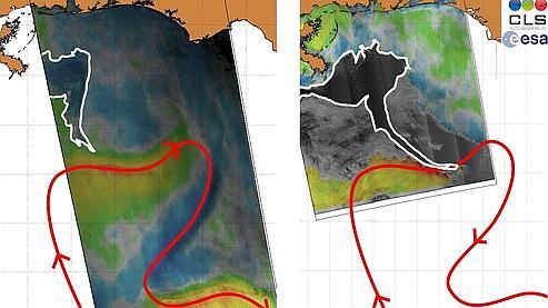 La nappe (contour blanc) s'est rapporchée du courant marin Loop Current (en rouge) entre le 15 mai (image de gauche) et le 18 mai (image de droite). (crédit : CLS)