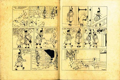La pièce majeure de la vente de ce samedi à Drouot est la double planche 75 et 76 tirée de la première version noir et blanc de l'album noir Le Sceptre d'Ottokar (250 000/300 000 euros). En haut : autre joli lot, particulièrement rare, Tintin et les coquillages, un dessin réalisé par Hergé pour un ami (50 000/70 000 euros). (Crédit : Hergé-Moulinsart 2010/Piasa)