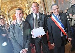 Jean-Bernard Rul et Jean Sakiroff après la signature du Pacs, le 07 novembre 2008 à Toulouse.