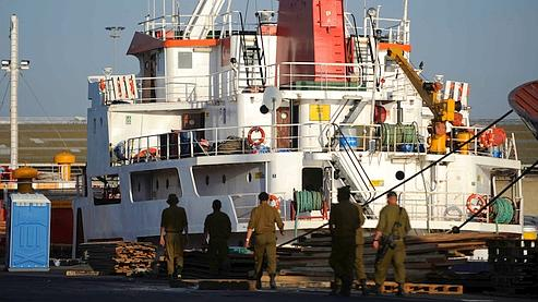 L'un des bateaux abordé lundi à l'aube par l'armée israélienne.