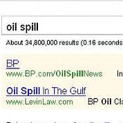 Copie d'écran de la recherche  «oil spill» ou «marée noire» dans Google.