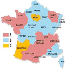 Les trois zones de vacances en France. (Crédit : Ministère de l'éducation nationale)
