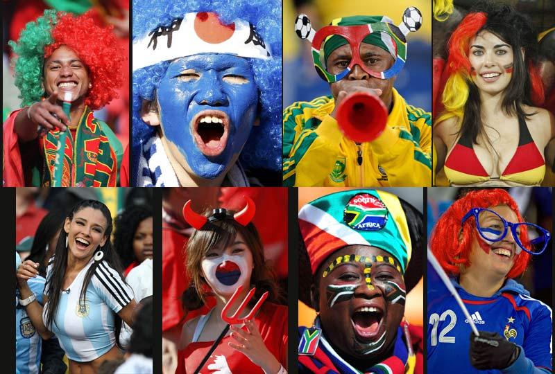Certains des supporteurs de la Coupe du monde de football se donnent beaucoup de mal pour afficher leurs couleurs et soutenir leurs équipes. Mais sauriez-vous reconnaître les nations qu'ils représentent ici ? De gauche à droite et de haut en bas:Portugal, Japon, Afrique du Sud, Allemagne, Argentine, Corée du Sud, Afrique du Sud, France) Un peu plus difficile : pouvez-vous citer les quatre qui ont été récompensés de leurs efforts en première semaine par la victoire de leurs joueurs ? Japon/Cameroun : 1-0; Allemagne/Australie : 4-0; Argentine/Nigeria : 1-0. Et la Corée du Sud qui a battu la Grèce 2 à 0.