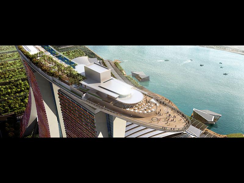 Cette gigantesque terrasse pourra accueillir 3.900 personnes sur ses 12.400 m² d'espaces verts et piscines.
