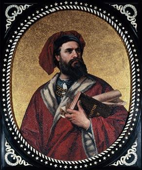 Cette mosaïque de Marco Polo portant l'ouvrage relatant ses aventures «Il Milione» a été réalisée à Gênes en 1867, pour le Palazzo Tursi. (Luisa Ricciarini/Leemage)