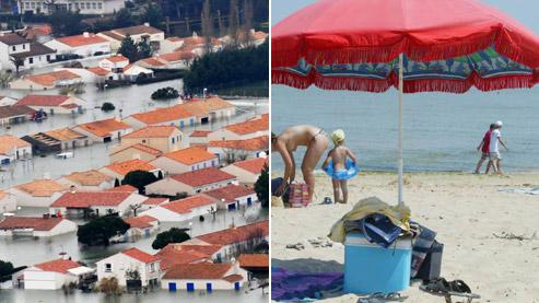 A gauche, des maisons près de l'Aiguillon-sur-Mer après le passage de Xynthia. A droite une plage de l'Ile de Ré. Crédits photos : AP et Sébastien SORIANO / Le Figaro