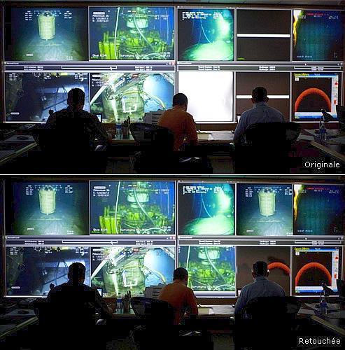 Les écrans de contrôle qui ne diffusaient pas de vidéos au moment de la photo ont été remplis avec des images prétextes. Les motifs de cette manipulation restent obscurs.