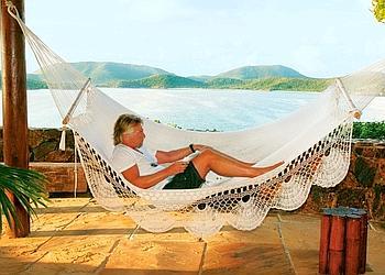 Richard Branson, dans son luxueux refuge des îles Vierges britanniques.