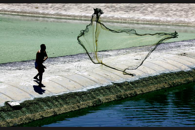 C'est dans une eau polluée en périphérie de Pékin que ce Chinois jette ses filets. De trop nombreux déchets domestiques et industriels sont en déversés dans les cours d'eau chinois.