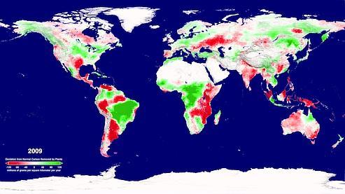 En rouge, les zones où le piégage a été moins important en 2009 et en vert celles où il a augmenté par rapport à la moyenne attendue.