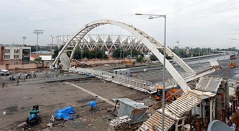 Mardi dernier, 27 ouvriers ont été blessés par l'effondrement d'une passerelle menant au grand stade de New Dehli.