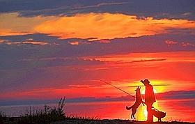 La nuit, je trouve la paix dans les bois. A l'aube, je tire la vie du lac. Le secret du bonheur : une canne à pêche pour n'avoir pas faim, deux chiens pour n'être pas seul. (Thomas Goisque/Le Figaro Magazine)