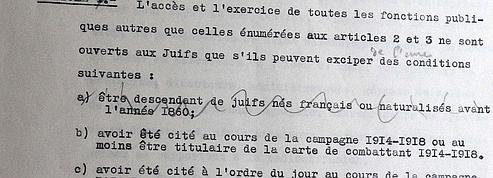 L'original du statut des juifs accable le Maréchal Pétain