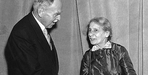 Lise Meitner et Otto Hahn en 1955.