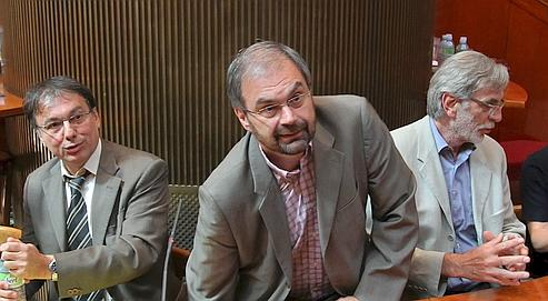 Alain Olive (Unsa), François Chérèque (CFDT) et Jacques Voisin (CFTC).
