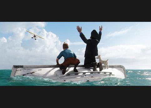 L'autre scène montre l'évasion sur le canot de sauvetage.