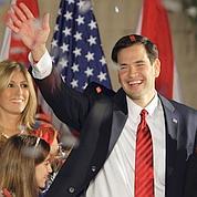 Le Tea Partier Marco Rubio célèbre son nouveau mandat de sénateur mardi en Floride.