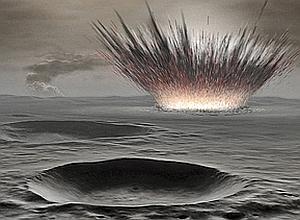 4,6 milliards d'années. Pendant les premières dizaines de millions d'années de son existence, Mars subit un intense bombardement météoritique. Sa surface est un magma fondu, puis solidifié en une croûte qui se constelle de cratères. (Lionel Bret/Ciel et Espace Photos/Épreuves d'artiste)