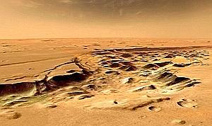 la couleur rouge de Mars s'est affirmée. Ce sont de faibles quantités d'eau oxygénée dans son atmosphère qui ont provoqué, au cours de milliards d'années, une oxydation du sol sur seulement quelques dizaines de microns d'épaisseur. (Lionel Bret/Ciel et Espace Photos/Épreuves d'artiste)
