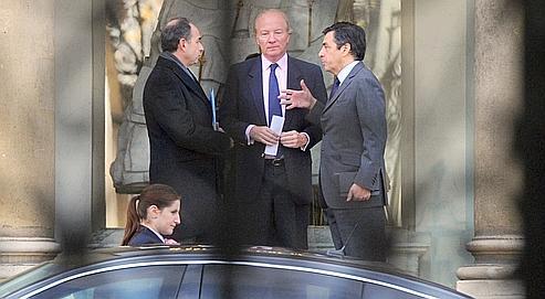 Jean-François Copé, Brice Hortefeux et François Fillon après leur rencontre avec le chef de l'État, lundi à l'Élysée.