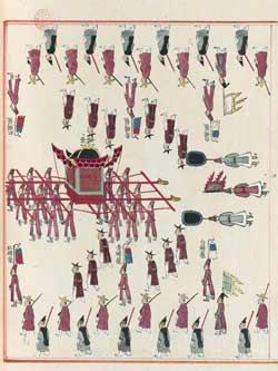 «Cérémonial du conseil préposé aux funérailles du roi Sun Jong», manuscrit coréen, 1834. (BNF)