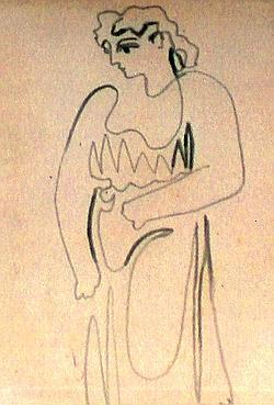 CARNET - Première image du carnet de 1921 qui en comporte 91 en tout. Pour cette femme vue en pied, de face et le visage tourné, Picasso ne lève pas le crayon. Un geste virtuose.