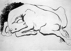 CHEVAL - Les animaux, leurs mouvements, leur instinct, ont toujours passionné Picasso. En témoigne, vers 1925, ce cheval à la tête à l'envers.