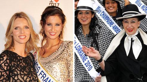 Sylvie Tellier, ancienne Miss France et nouvelle patronne de l'élection, Malika Menard, Miss en titre, et Geneviève de Fontenay entourée de ses candidate à Miss Nationale. Crédits photos: Abaca et AFP.