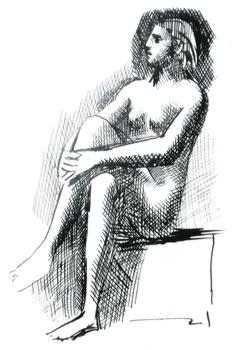 Etude de femme nue à la plume et encre brune qui pourrait dater de 1927, l'année où Picasso rencontre Marie-Thérèse Walter, dont le profil si caractéristique, une ligne droite entre le front et le nez dans un prolongement parfait, est ici bien identifiable. (Fondation Picasso 2010)